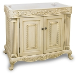 Antique White Burled Ornate Vanity